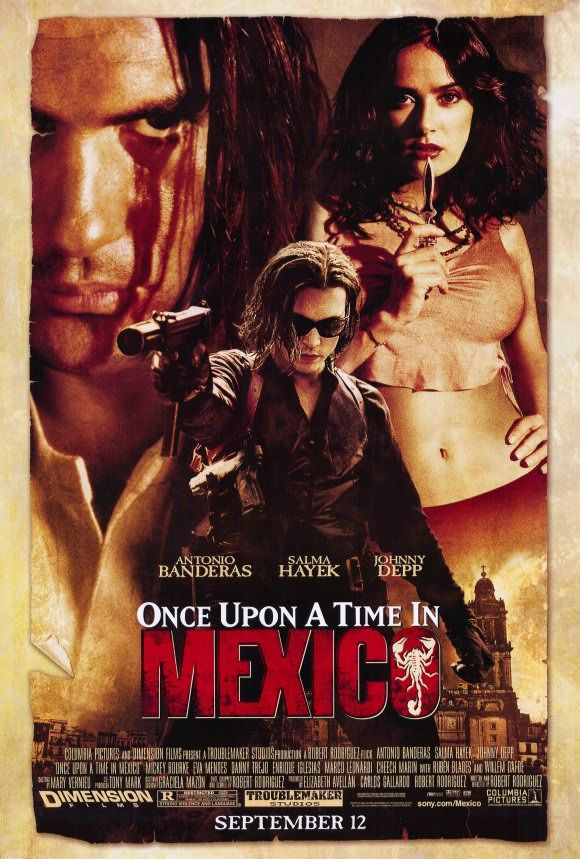 "Robert Rodriguez' ""Once Upon A Time In Mexico"" starring (R to L) Antonio Banderas, Johnny Depp, and Salma Hayek"