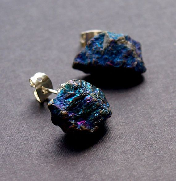Unique earrings made from two small pieces of Peacock Ore and metal earring posts. Large enough to make a statement but not too heavy. A funky addition to any outfit. This stone has been known to brin