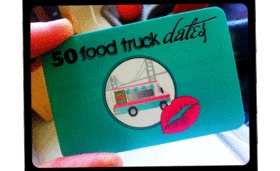 Jeanna Barrett, 31, hands out business cards to men who may be interested in taking her out on a date for her 50 Food Truck Dates blog.