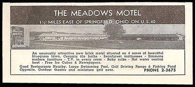 Meadows Motel Ad Springfield Ohio Baby Cribs TV 1954 Roadside Photo Ad Travel