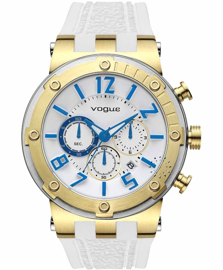 VOGUE Feeling Gold Chrono White Rubber Strap Η τιμή μας: 194€ http://www.oroloi.gr/product_info.php?products_id=31605