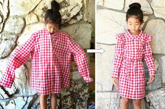 Life is Beautiful: DIY: Turn a XL women's shirt into a girl's dress