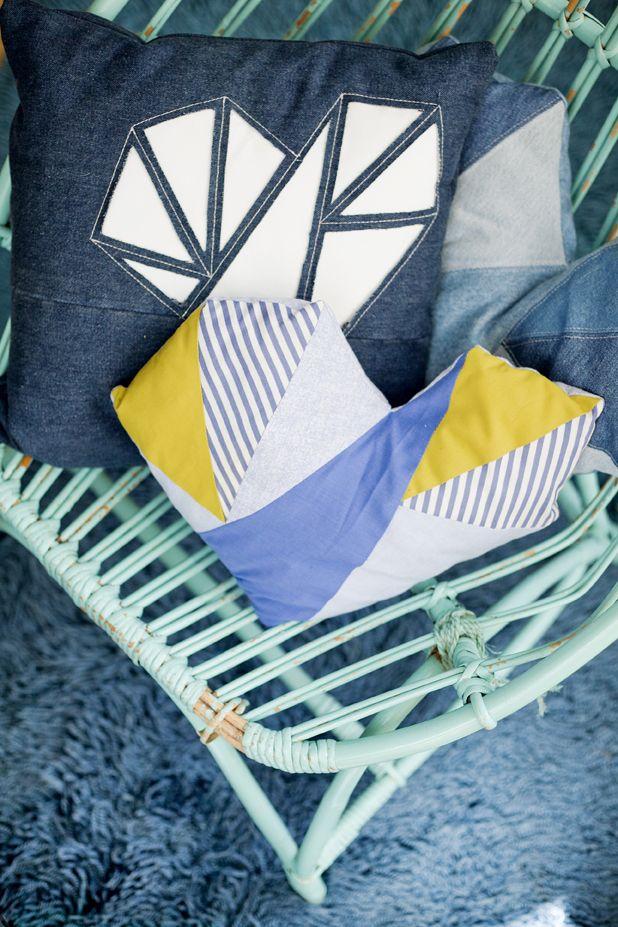 Gör en nackdyna av tygstuvar, instruktioner för hur du gör hittar du här: http://martha.fi/svenska/ekologi/garderoben/kudde2/