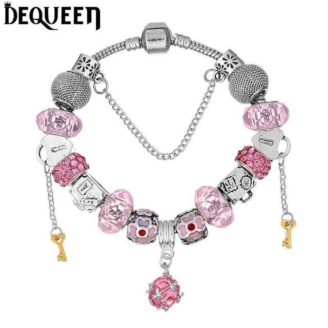 Key Bead Lock Charms Romantic  Bracelets
