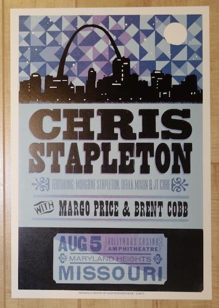 2017 Chris Stapleton - Maryland Heights Letterpress Concert Poster by Camp Nevernice