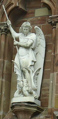 San Miguel Arcángel/Archangel Michael slaying the dragon