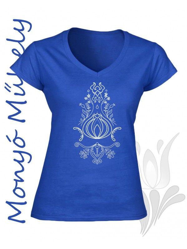 Szűr mintás női póló - Kék