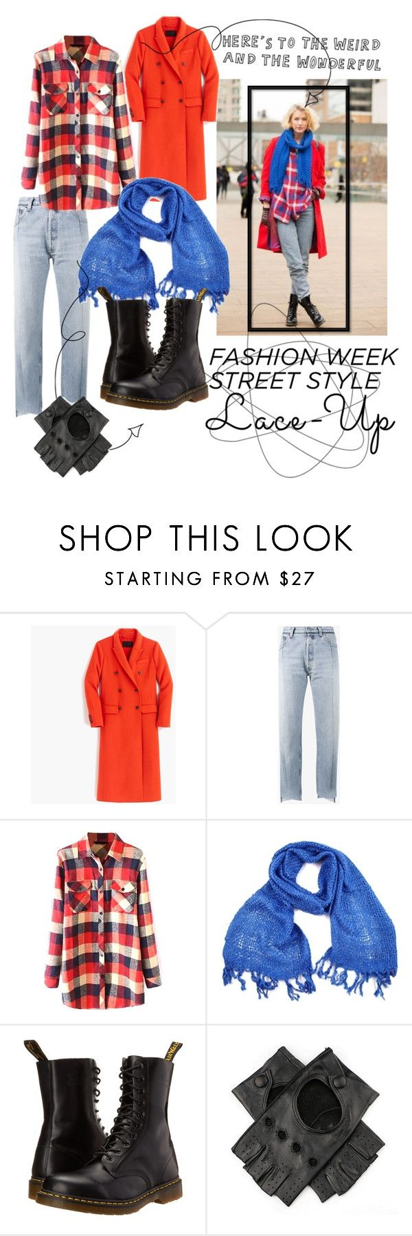 """""""Lace up"""" by alliweb ❤ liked on Polyvore featuring J.Crew, Vetements, WithChic, Dr. Martens and Black"""