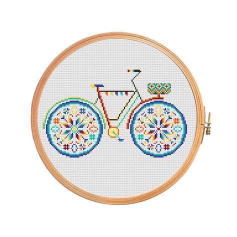 Moto de verano con la cesta en colores brillantes - patrón de punto de Cruz - chevron geométrica bicicleta moderno shabby chic divertida Linda francesa azul