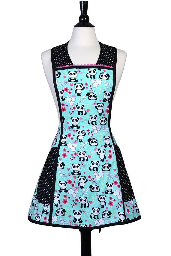 vintage womens apron with plus size option in panda bears large rh pinterest com