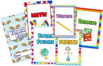 Rainbow Themed Student Binder Covers - This title contains colorful rainbow-themed student binder covers for the following subjects - math, science, writing, social studies, reading, and homework. $1.25