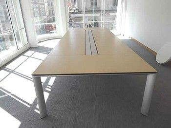 Bene 'Al Conference' veneered meeting table with elegant silver legs.