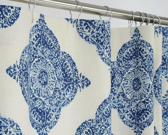 This Gorgeous Fabric Shower Curtain Sports Large Indigo Blue