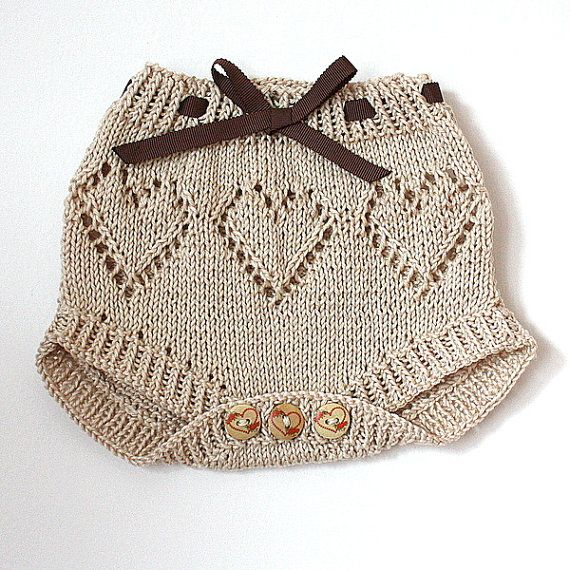 Knitting Pattern (PDF file) Baby Pants Diaper Cover Sweet Hearts flat knitting (sizes 1/3/6 months)