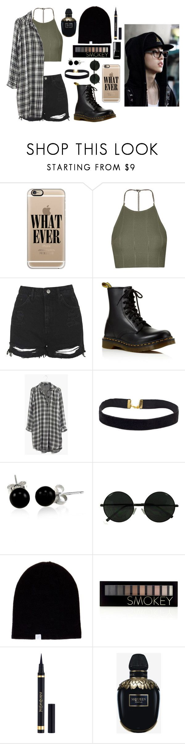 """Day out with Mark (grunge style)"" by got7outfits ❤ liked on Polyvore featuring Casetify, Topshop, Dr. Martens, Madewell, Bling Jewelry, Coal, Forever 21, Yves Saint Laurent and Alexander McQueen"