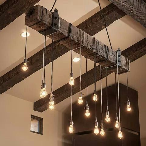 Industrial upcycled light fixture with multiple bulbs -love this for dining room