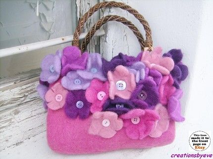 keçe çiçekli çanta