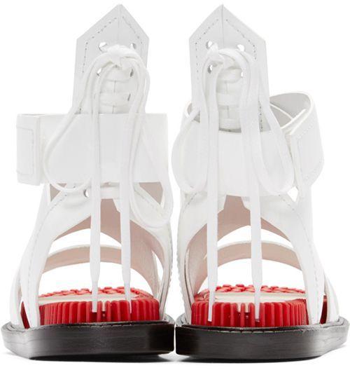 Дамы Кэндзо Уайт и красные сандалии стелька - $ 81,32