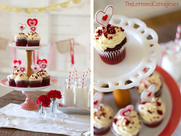 DIY Valentines Day Cupcake Stand, from The Lettered Cottage.  Instructions here:  http://theletteredcottage.net/valentines-day-crafts-diy-cupcake-stand/