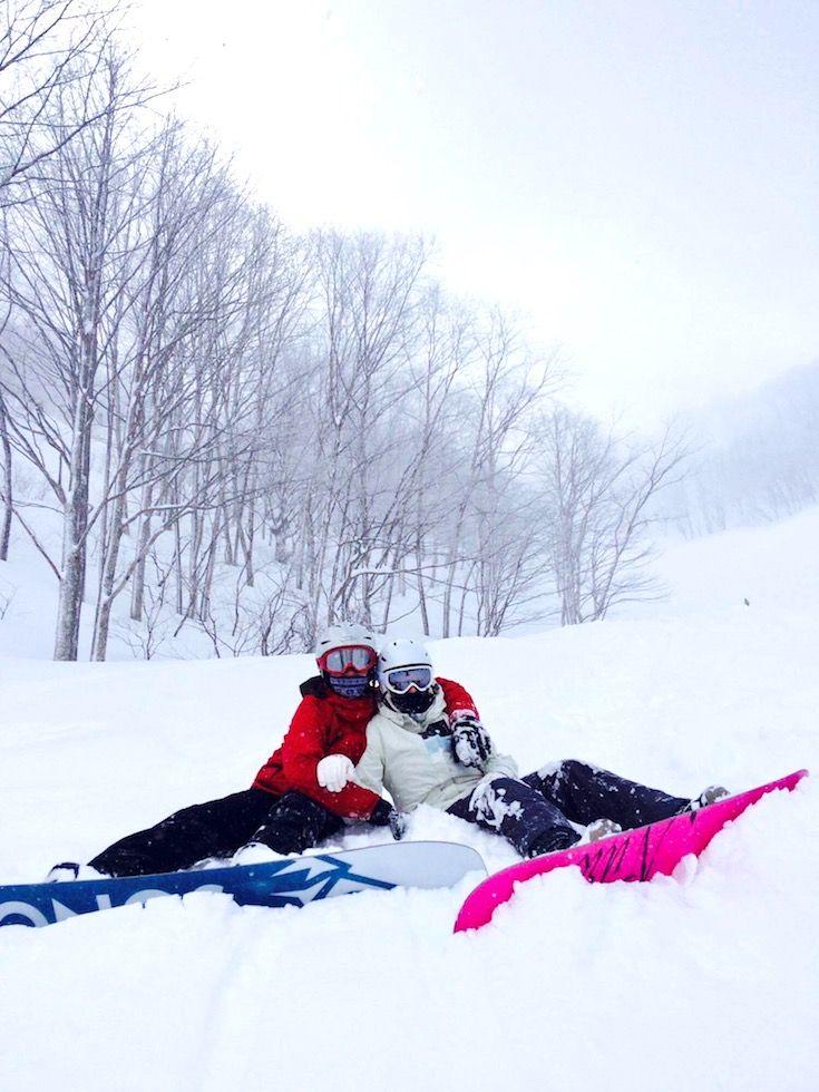 Snowboard gal buddies at Madarao Mountain Ski Resort Japan