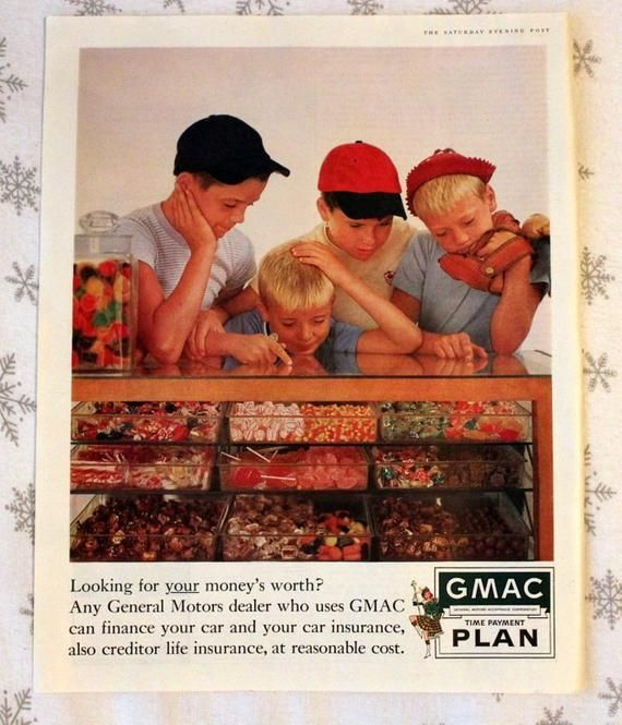 1960 Gmac Ad With Candy Store Scene Wall Art Home Decor