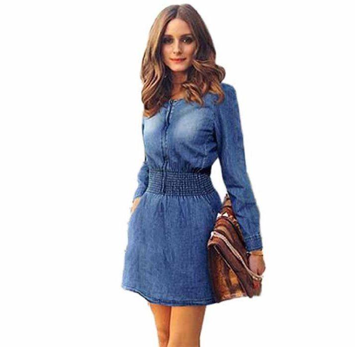 FEITONG Las mujeres del resorte de la vendimia Casual manga larga delgada Mini vestido de mezclilla Partido Jeans (S, Azul)