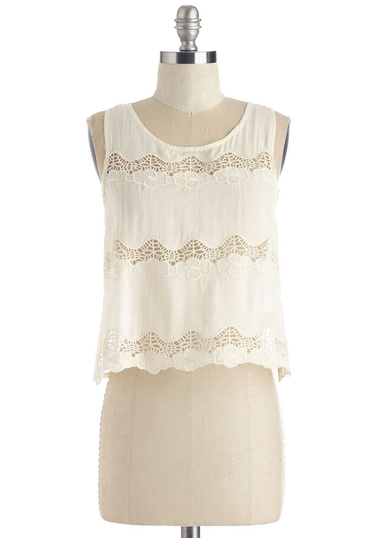 Cavort and Sweet Top. Show off your enviously effortless festival style in this eggshell-white crop top! #white #modcloth