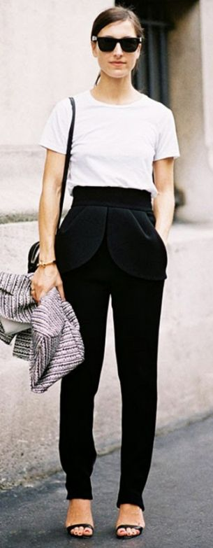 White tee paired perfectly with slouchy trousers and strappy sandals