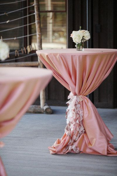 Set of 4 Cocktail table /High Boy table Curly Sashes CUSTOMIZED to your event