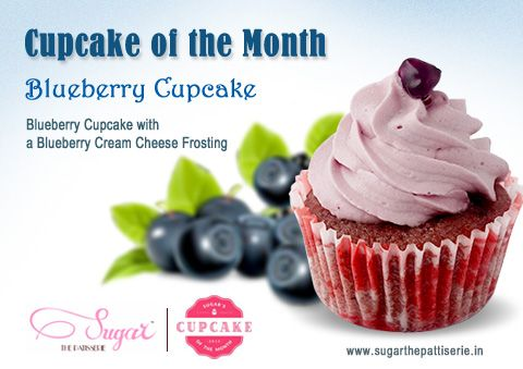 We're going fruity this month! Try our delicious Cupcake of the month, made with fresh blueberries and rich cream cheese. Stop by our store to grab one today!  #sugarthepatisserie #blueberry #cupcake #cupcakeofthemonth #love #dessert #mumbaifoodie #yummyinmytummy #latenighteats #nomnom