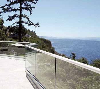 glass balustrade with steel railing