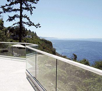 glass balustrade with steel railing