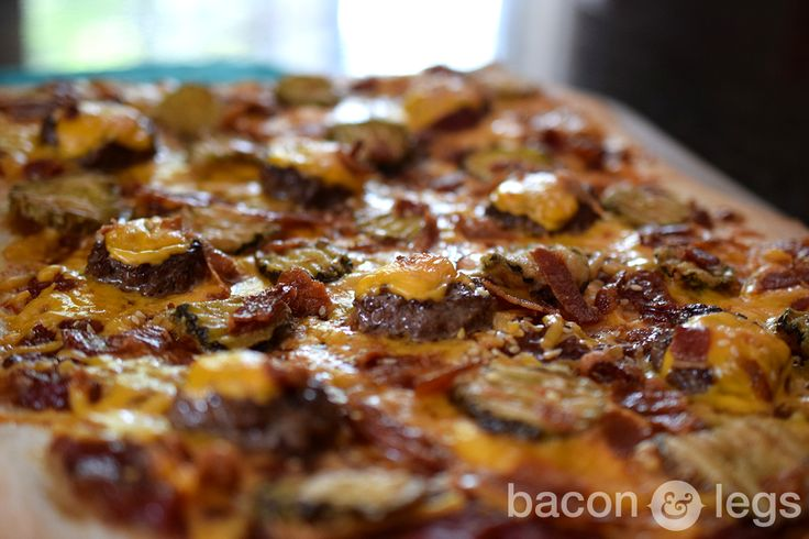 The bacon cheeseburger pizza that always should have been... complete with fried pickles and IPA Tomato Jam.