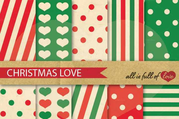 Christmas Vintage Backgrounds in Red and Green: Love Collection By All is full of love
