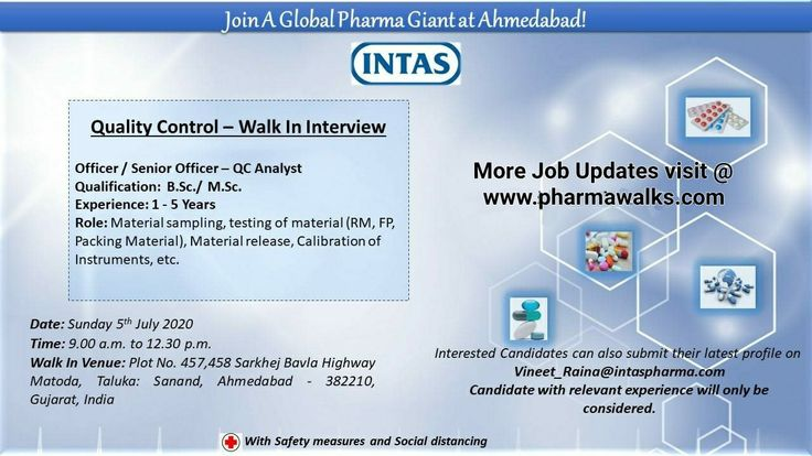 Intas Pharmaceuticals Walkin drive for Quality Control