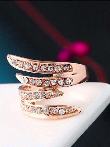 Golden Rhinestone Angel Wings Ring