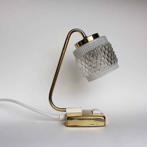 Golden 1950s Bedside Table Lamp. Midcentury Modern Accent Night Light. Brass, glass
