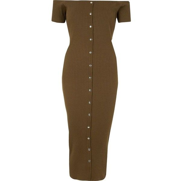 River Island Khaki bardot button-up bodycon maxi dress (220 RON) ❤ liked on Polyvore featuring dresses, bodycon dresses, khaki, women, button down maxi dress, short sleeve dress, brown maxi dress, brown bodycon dress and button up maxi dress