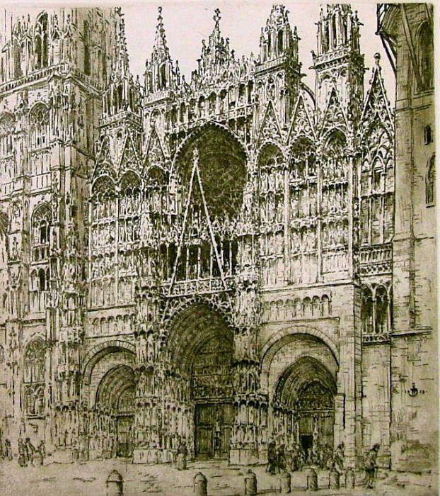 """ŠIMON Tavík František: """"Průčelí katedrály v Rouenu""""  1901"""