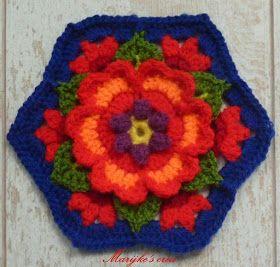 Weer een blok in Mexicaanse Frida kleuren...     en zo alle verschillende bloemenblokken bij elkaar...     Vond het heel bijzonder om d...