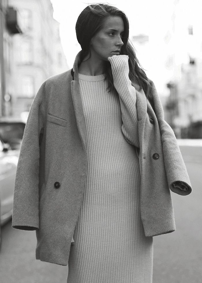 sweater dress and oversized wool coat