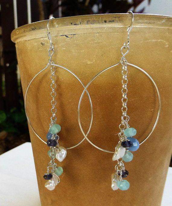 Mikil sterling silver hoop earrings with by JewelHappyGateHawaii, $58.00