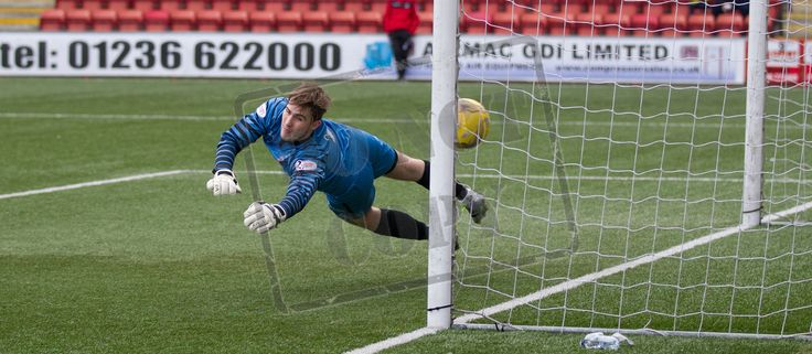 Airdrieonians' Rohan Ferguson can't keep the penalty out during the Ladbrokes League One game between Airdrieonians and Queen's Park.