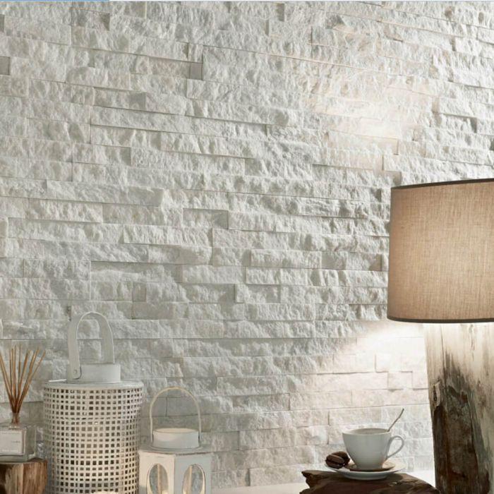 Sparkle White Split Face Mosaic Tiles Large Tile Accent Wall Living Room White Stone Backsplash Accent Walls In Living Room #stone #wall #tiles #living #room