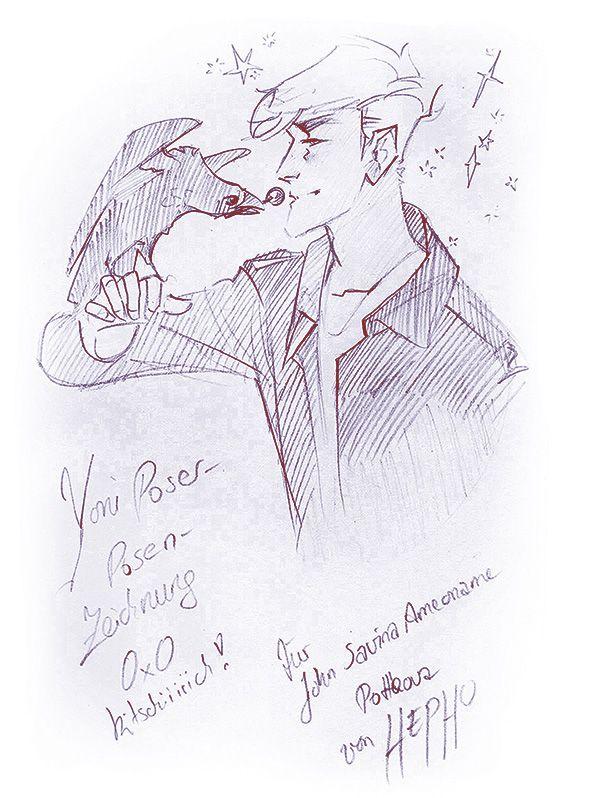 Lisa Hepho Henke made this lovely sketch of Yoni and his pet crow Tourmaline! Love iiiiiit!