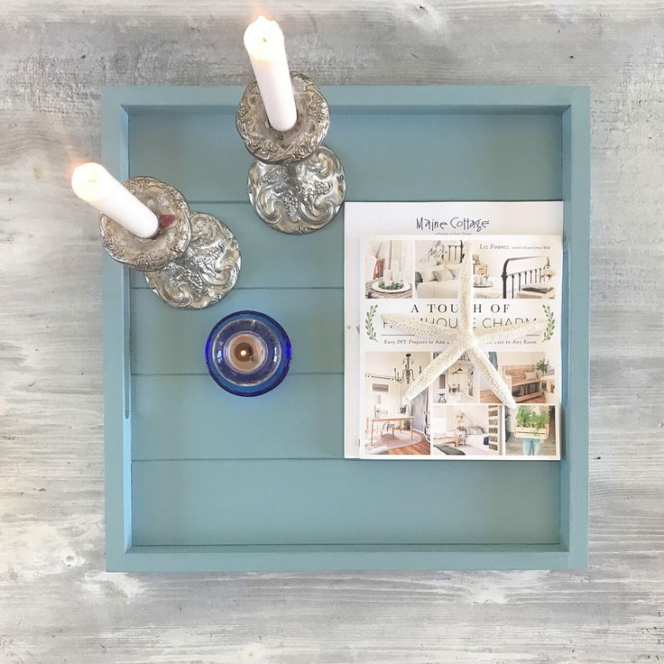Seaside Blue wood serving tray Cape Cod style