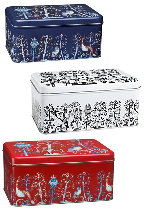 Ittala's Owl Tin Container From Taika Series