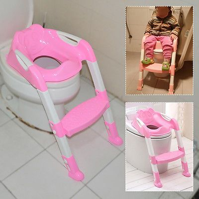 Pink Baby Kid Toddler Potty Training Toilet Safety Seat Step Adjustable Ladder