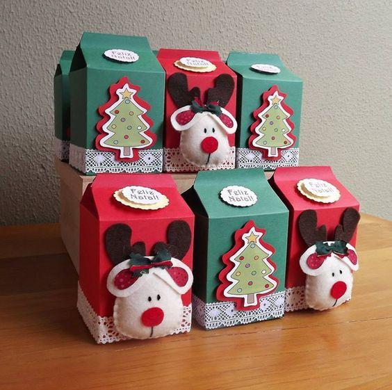 enfeites de caixa de leite para natal