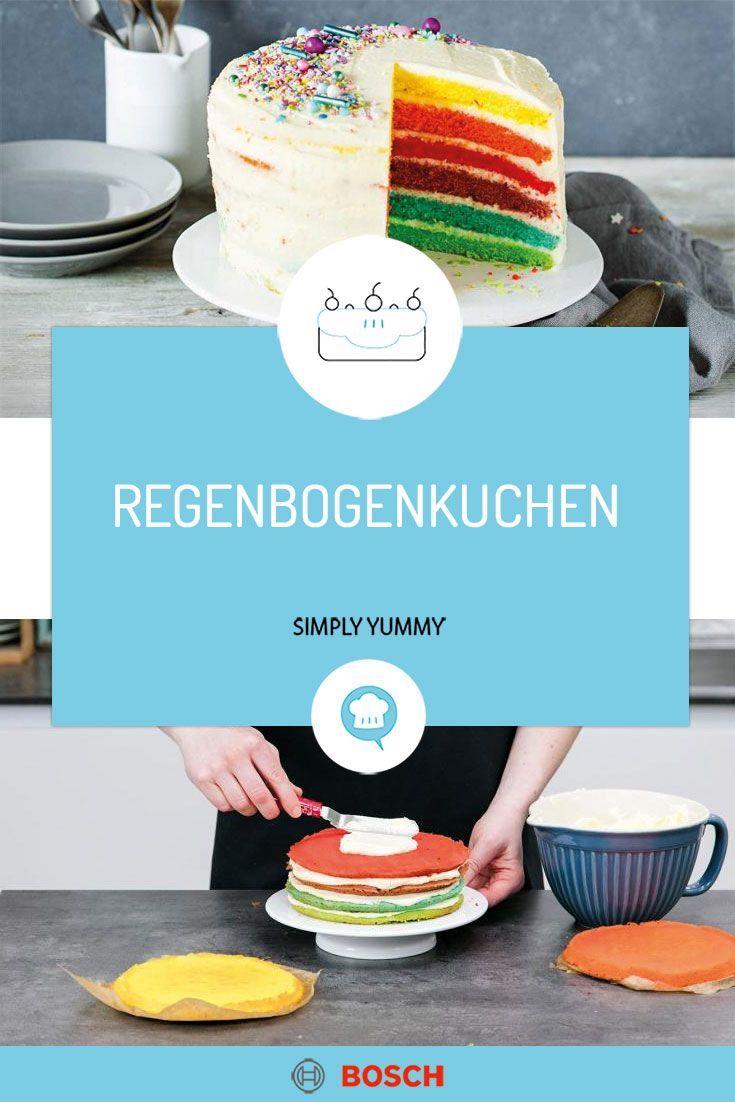 Regenbogenkuchen Mit Cheesecake Frosting Rezept In 2020 Kuchen Leckerschmecker Und Lebensmittel Essen